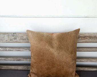 Hide Cushion, Cows Hide - Tan Fur Cushion Pillow Case, Scatter Cushion, Decorative Throw Pillow