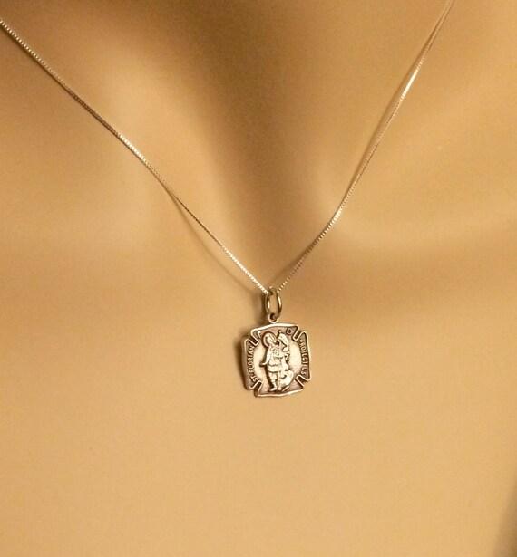 St Florian Necklace: Ladies Sterling Silver St. Florian Medal Necklace Pendant