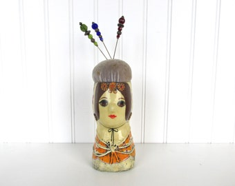 Vintage Paper Mache Lady Head Pin Cushion Doll Feranza Mexico, Gemma Taccogna Style Pincushion