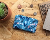 Coin Purse Blue Floral // Meadow Floral Small Zipper Pouch Travel Card Holder