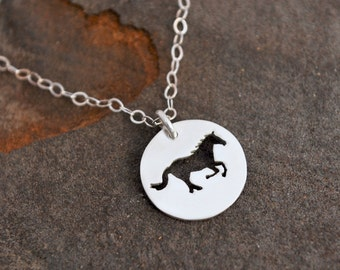 Tiny Running Horse Charm Necklace  - Hand Pierced Silver Pendant - Gift for Horse Lover - Equestrian Jewelry - Everyday Necklace