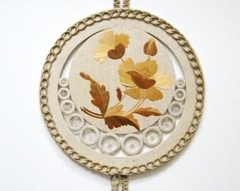 Vintage Macrame Wall Hanging - Straw Marquetry Flower Art - Lithuanian Folk Art - Round Fiber Art Jute Tassels - Neutral Linen Home Decor