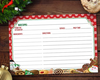 Printable Christmas Cookie Exchange Recipe Card Two 6x4 Cards Instant Download