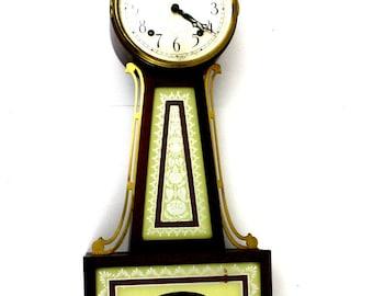 Vintage Seth Thomas Banjo Clock with Brass Eagle on Top
