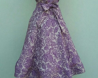 1950s style New Retrò dress - brocade fabric grey/purple with sweetheart neckline