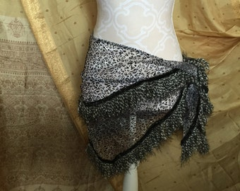 Glass Snow Leopard hip scarf/ hip wrap/ Bellydance hip scarf/ belly dance hip wrap