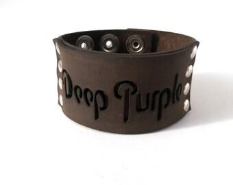 Deep Purple-Leather Wristband Cuff Bracelet - Genuine First Class Leather -men leather bracelet - woman leather bracelet-wrist bracelet