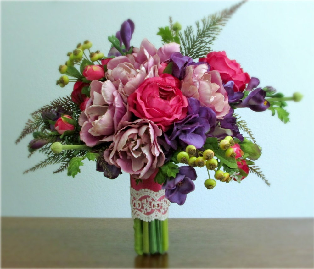 lavender purple pink and green silk flower bridal bouquet