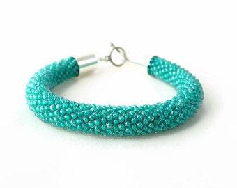 Mint Bracelet - Green Bracelet - Mint Green - Glittering Bracelet - Persian Green - Bead Crochet Bracelet - Beaded Bracelet - Green Jewelry