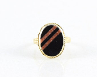 14k Yellow Gold Onyx and Gold Stone Ring Size 7