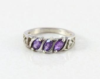 Sterling Silver Amethyst Heart Filigree Ring  size 6