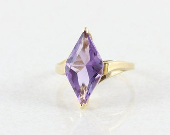 10k Yellow Gold Purple Amethyst Ring Size 6