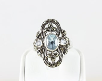 Vintage Sterling Silver Blue Topaz and Marcasite Band Ring Size 7 1/2