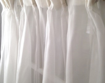 """two romantic Victorian ivory white sheer pinch pleated curtain panels; 23"""" x 53"""" each, old fashioned sheers; yesteryears window treatment"""