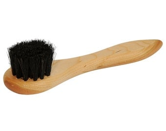 "rOund 1.5"" diameter 100% real Horsehair Applicator Brush for Polish Cream & Wax wood handle DAUBER shoe boot application ANGELUS"