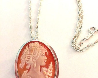 Carved Shell Cameo Pendant, Cameo Necklace, Sterling Silver Cameo, Vintage Victorian Cameo Brooch