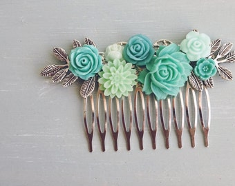 Turquoise and Silver flower hair comb, bridal hair comb, Resin rose hair comb, brass leaves
