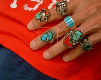 Sale VICTOR CHAVEZ Vintage Native American Turquoise RING, Navajo Snake Ring, Sterling Mens Jewelry Rings, Size 9 1/2, Gift for Him