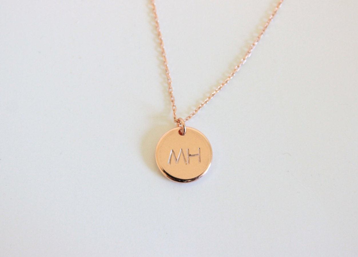 initial necklace two initial disk necklace silver initial