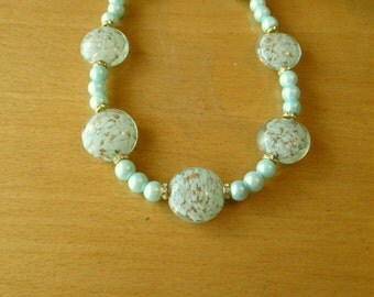 Venetian Murano Necklace and Light Blue Glass Bead Necklace