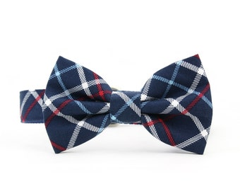 Navy Plaid Dog Bow Tie Collar Red White and Blue Preppy Nautical Wedding Dog Bowtie Collar