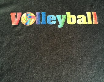 Volleyball Tshirt - Volleyball with Rainbow Stripes - Colorful Volleyball Gift