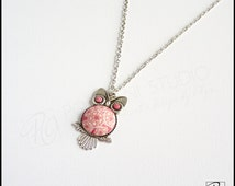Necklace Owl Pendant Pink, Handmade Polymer Clay jewelry Bird, Owl Lovers Gift For Her, Girls Jewelry, Ready to ship.