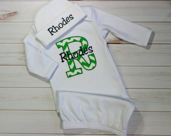 Baby Coming Home Outfit Personalized Infant Baby Gown Layette with Beanie Hat Appliqued and Monogrammed Baby Boy Girl Baby Shower Gift