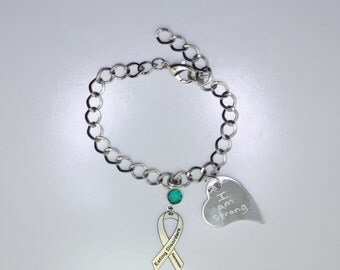 Personalized Eating Disorder Awareness Ribbon Bracelet - Recovery Support Jewelry - Heart Charm with Your Personalized Message