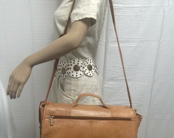 Wilson Leather, brown leather briefcase, organizer, shoulder bag, leather briefcase, leather shoulder bag, brown briefcase