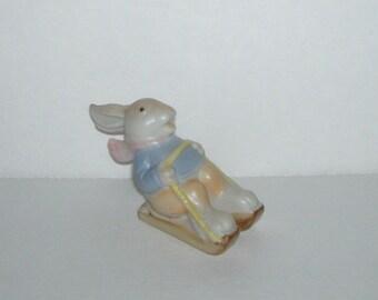 Fitz and Floyd Bunny Rabbit on Sled Sports Figurine 1983