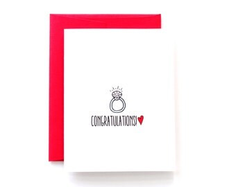 Engagement Card for Her - Engagement Friend - Simple Minimalist Card - Red and White