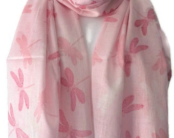 Dragonfly Scarf , Ladies Pink and White 100% Pure Cotton Dragonflys Shawl