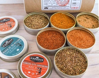 Grill Set | Boyfriend Gifts DIY | BBQ Spices Gift Kit | Birthday Gift for Him | 6 Grilling Spices Sampler Set | Kashmir to Abilene Tube Set