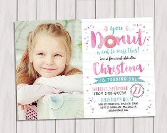 Donut birthday Photo invitation, donut doughnut party invitation, girl birthday, girl first birthday invitation, printable invite