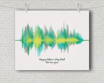 Best Gifts for Dads, Custom Fathers Day Gift for Dad From Wife, from Daughter, from Son - Sound Wave Art, Add Multiple Messages from Kids