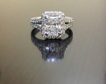 14K White Gold Radiant Diamond Engagement Ring - Art Deco Radiant Cut Halo Diamond Wedding Ring - 14K Gold Diamond Halo Radiant Cut Ring