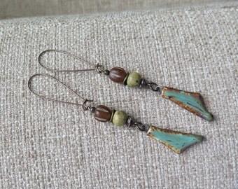very long earrings, boho earrings, turquoise and brown earrings, artisan earrings,long turquoise earrings, ceramic earrings, boho jewelry