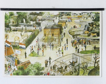 """Vintage dutch school poster, titled """"The zoo"""", retro poster, school chart"""