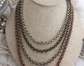 6mm Rolo Chain Necklace. Custom Length, Alternate finish choices. Great for layering pendants or wearing alone! Round Link Necklace chain.