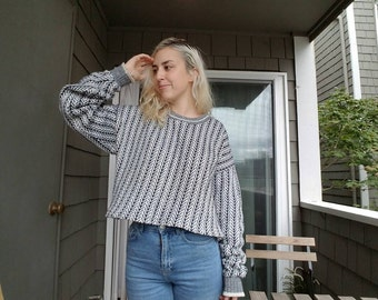Up cycled pull over grandpa sweater/ 90s oversized sweater/ 1990s vintage handmade
