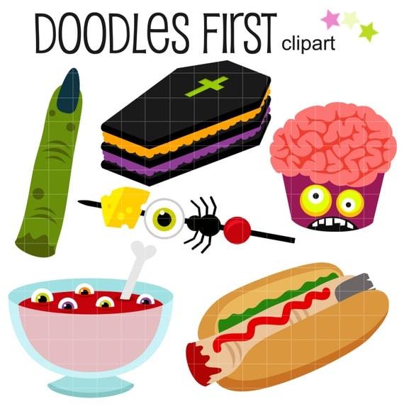 Halloween Party Foods Digital Clip Art for Scrapbooking Card
