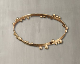 Aqua Bubbles Bangle 24K Gold Plated Hammered Bronze/Handmade Stackable 24K Gold Plated Bronze Bangle Bracelet – B003A