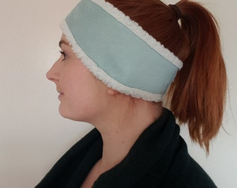 Suedette Shearling Headband. Winter headband. Women's headband. Blue Headband. Winter accessories. Earmuff headband. Made in the UK.