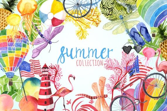 Watercolor Summer Collection Summer Clip art Summer