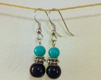 turquoise black and silver drops