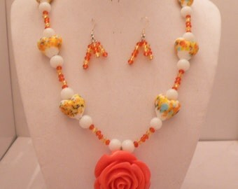 Hand Carved Resin Rose and Blown Glass Hearts Necklace with Swarovski Accents and Swarovski Crystal Earrings