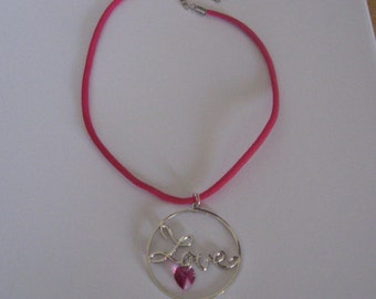 Silver Love pendant necklace with pink Swarovski heart