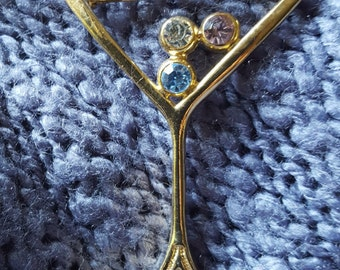 Martini Glass brooch, with rhinestone bubbles