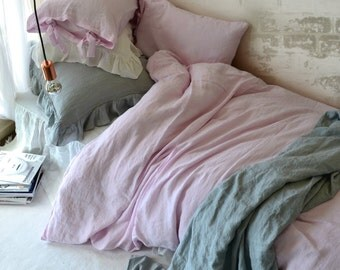 Dusty Pink stonewashed linen quilt/duvet cover. Limited edition. Pure linen bedding. All sizes